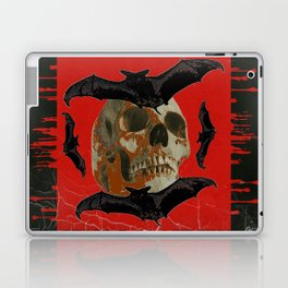 GRUNGY HALLOWEEN BAT INFESTED HAUNTED SKULL Laptop & iPad Skin