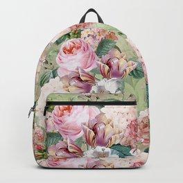Vintage & Shabby Chic -Blush Pink Botanical Spring Roses Garden  Backpack