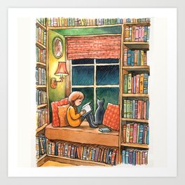 Reading to the  Sound of the Rain Art Print