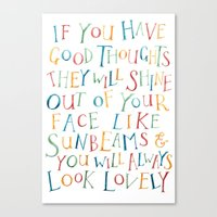 roald dahl Canvas Prints featuring Roald Dahl Quote For Kids Sunbeams Quote Nursery Art Inspirational Quote by FeatherandSixpence