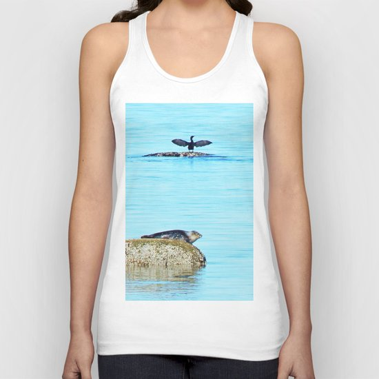 Seal pup and Cormorant getting some Sun  Unisex Tank Top