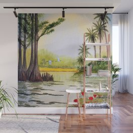 Egrets At Sunrise The Everglades Florida  Wall Mural