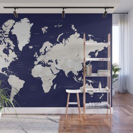 """Navy blue and cream world map, """"Austin"""" Wall Mural"""