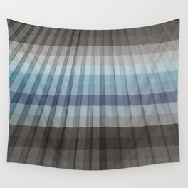 Blue Gray Pleated Stripes Wall Tapestry