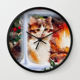 Christmas Kitten Wall Clock