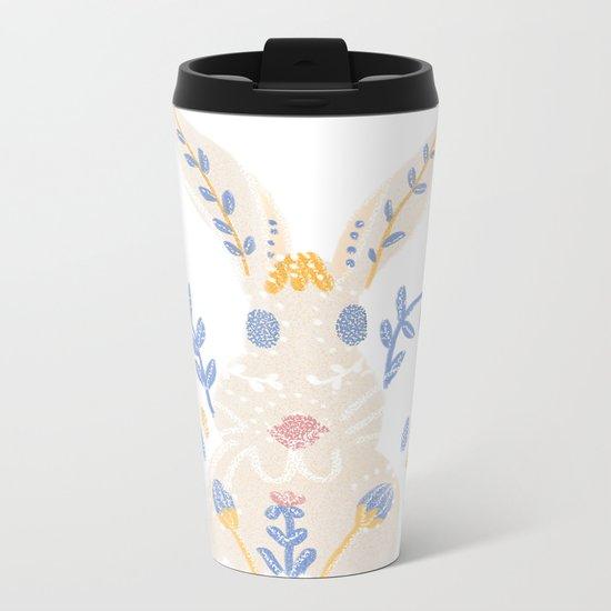 Floral Rabbit Metal Travel Mug