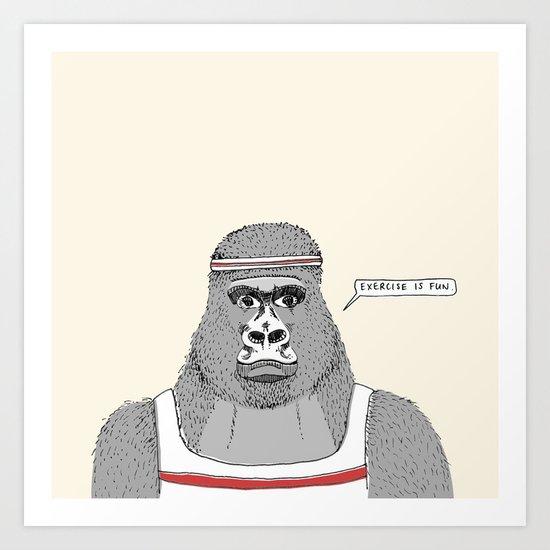 Gorillas love exercise Art Print