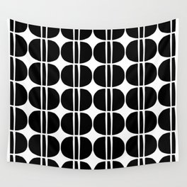 Mid Century Modern Geometric Pattern 131 Black and White Wall Tapestry