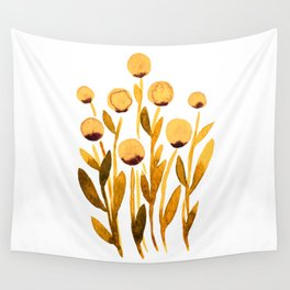 Simple watercolor flowers - orange and brown Wall Tapestry