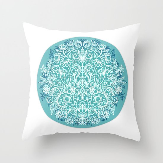 Spring Arrangement - teal & white floral doodle Throw Pillow