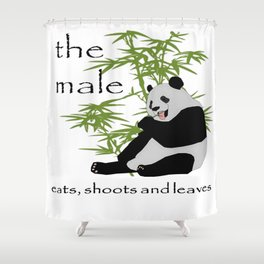 The Male Eats, Shoots and Leaves Shower Curtain