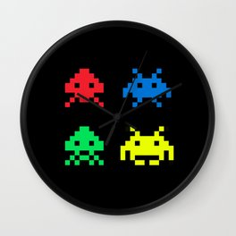space aliens invaders stylish gamer art Wall Clock