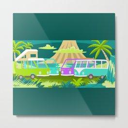Beach Buses Metal Print