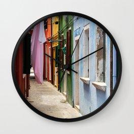 Colors of Burano Italy #2 Wall Clock