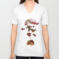 roller derby V-neck T-shirts featuring Roller Derby Kicks Ass by Luckyirishlass