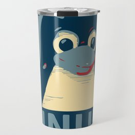 Linux tux Penguin poster head red blue  Travel Mug