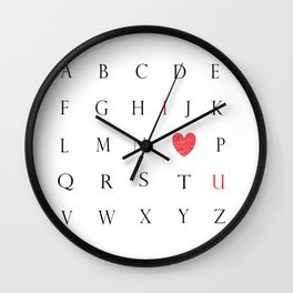 I Love You Alphabet Wall Clock