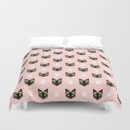 Siamese Cat cute cat paw print pink pastel kids fur baby pet portrait siamese cat owner must have  Duvet Cover