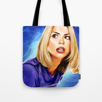 bad wolf Tote Bags featuring Bad Wolf by Regenerated Arts