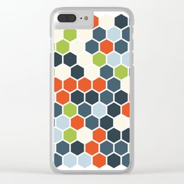 HEXAGONS - Blorangreen Clear iPhone Case