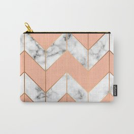 WHITE MARBLE WITH GOLD AND ROSE CHEVRON Carry-All Pouch