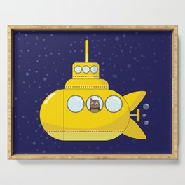 Yellow submarine in deep sea with a cat and bubbles Serving Tray