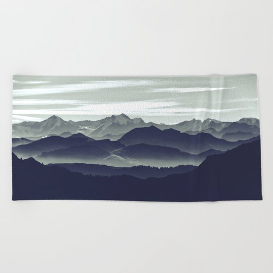 Mountains are calling for us Beach Towel