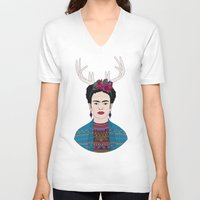 deer V-neck T-shirts featuring DEER FRIDA by Bianca Green