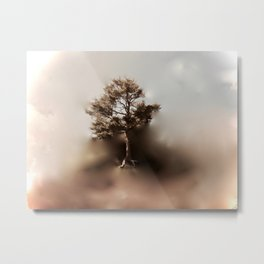 Misty Tree of Life on the Coastal Edge Metal Print