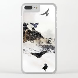 Crow Tree On A Snowy Mountain Clear iPhone Case