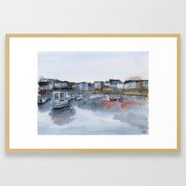 Rosmeur port watercolor painting Framed Art Print
