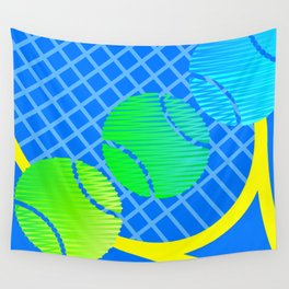 Sunny Blue Scribblez Wall Tapestry