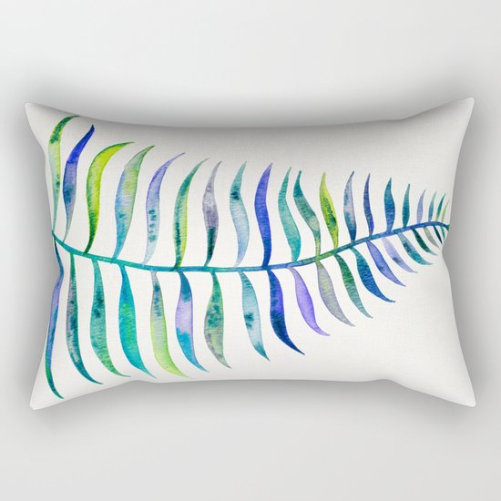Indigo Palm Leaf Rectangular Pillow