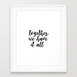 Kitchen Decor,Quote Prints,Home Decor,Quote Art,Hand Lettering,Home Decor,Funny Print,Together We Ha Framed Art Print