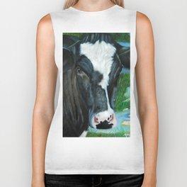 Muddy Fields Cow Painting Biker Tank