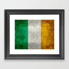 Republic of Ireland Flag, Vintage grungy Framed Art Print
