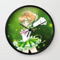 sailor jupiter Wall Clocks featuring Eternal Sailor Jupiter by Yue Graphic Design