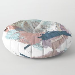 In the Clouds: a minimal mixed media piece in blues, pinks, white, and purple Floor Pillow