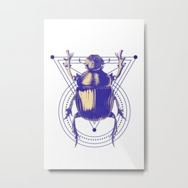 Beetle and geometric Metal Print