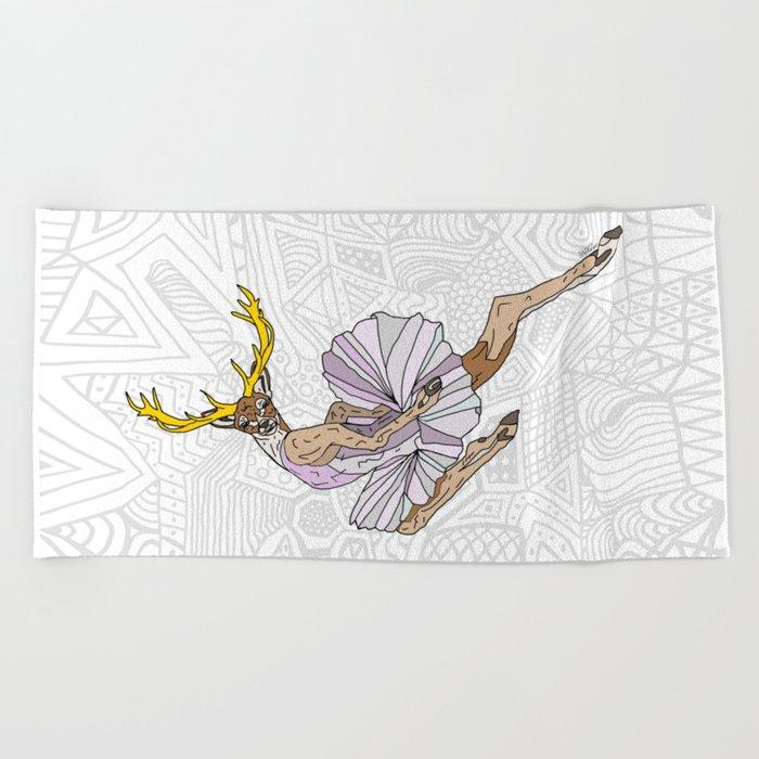 Reindeer Ballerina Tutu Beach Towel
