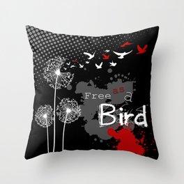 Trash Polka Dandelions Blow Into Birds Throw Pillow
