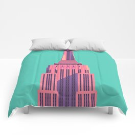 Empire State Building New York Art Deco - Green Comforters
