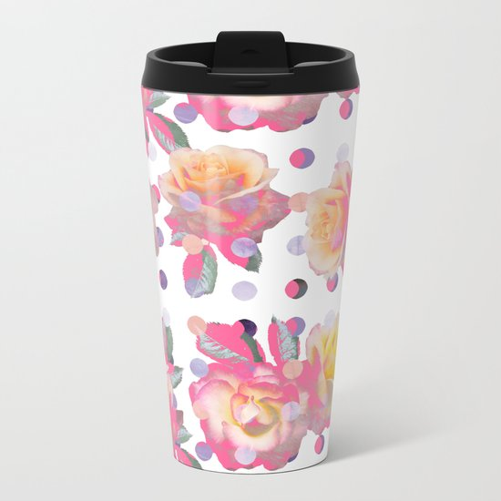 Sweet Pink Rose Garden Metal Travel Mug