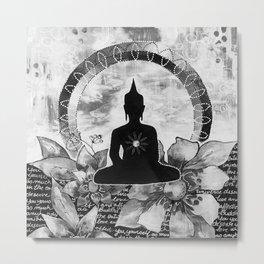 Bouddha black and white Metal Print