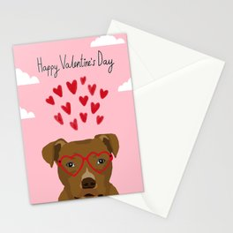 Pitbull dog head heart glasses cute hearts dog breed valentines day pibble gifts Stationery Cards