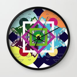 Colorful Abstract Geometry Art Mountain Wall Clock