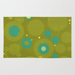 """Retro Dots Colorful"" (Olive & Teal) Rug"