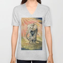 Mom and Baby Elephant Unisex V-Neck
