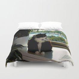 Contemplating Cat (Gracie Queen of Chicago Collection) Duvet Cover