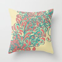 coral Throw Pillows featuring Coral  by LindsayMichelle